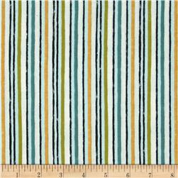 Bohemian Roosters Stripe Blue/Green Fabric