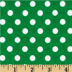 Stretch ITY Jersey Knit Polka Dots Green/White