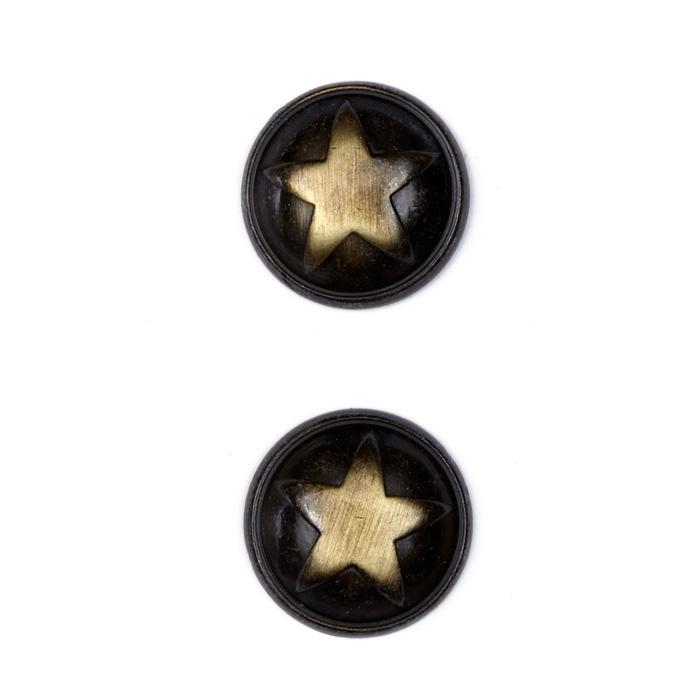 "Metal Button 7/8"" Polished Star Brass"