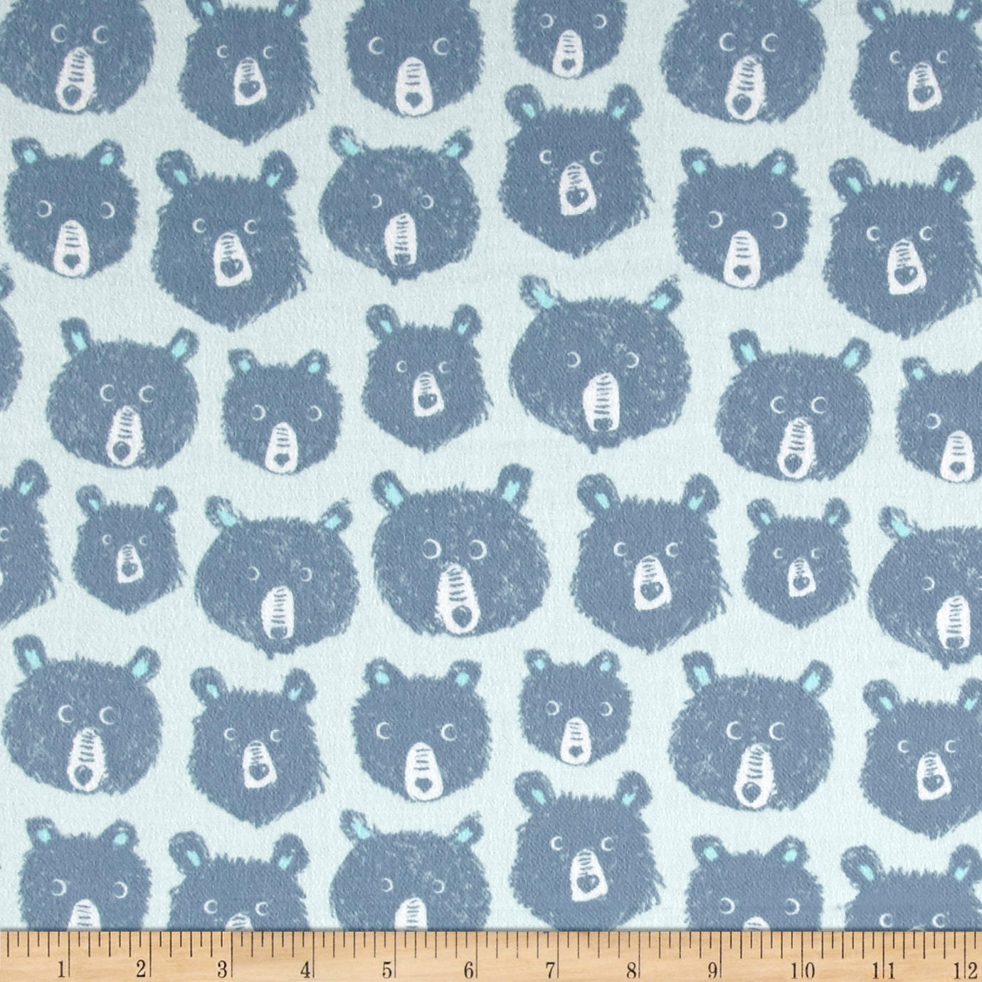 Image of Cotton + Steel Brushed Cotton Cozy Teddy And the Bears Blue Fabric