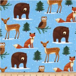 Timeless Treasures Flannel Forest Animals Blue Fabric