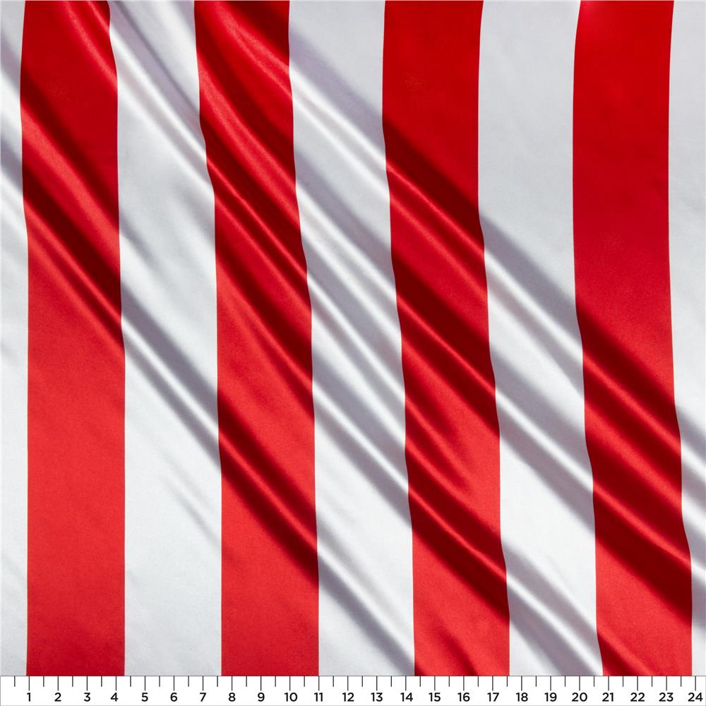 Charmeuse Satin 3.5 Stripe White/Red