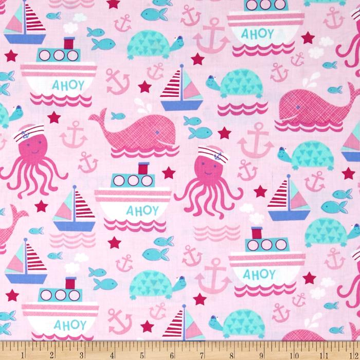 Timeless Treasures Nautical Motifs Pink