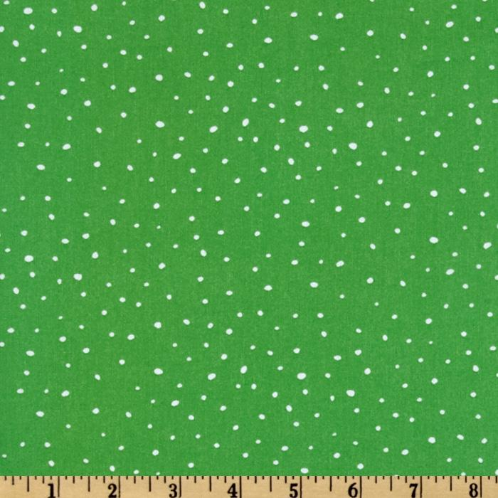 Christmas Time Peanuts Dotted Green