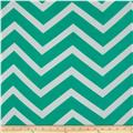 Chiffon Large Stripe Chevron Aqua Green/White