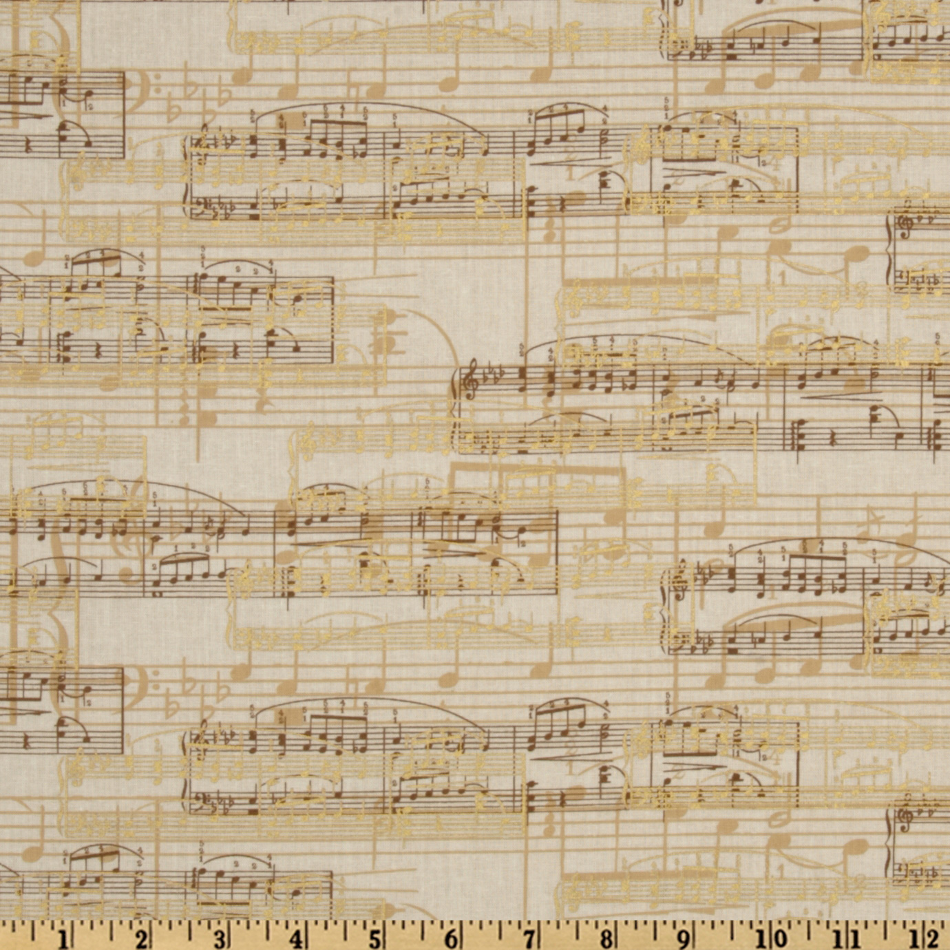 All That Jazz Sheet Music Gold Fabric