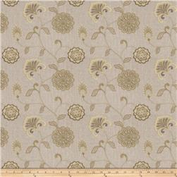 Fabricut  Embroidered Linen Dory Floral Pistachio