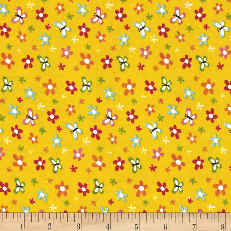 Alpine Flannel Buzzy Floral Yellow Fabric by Christensen in USA
