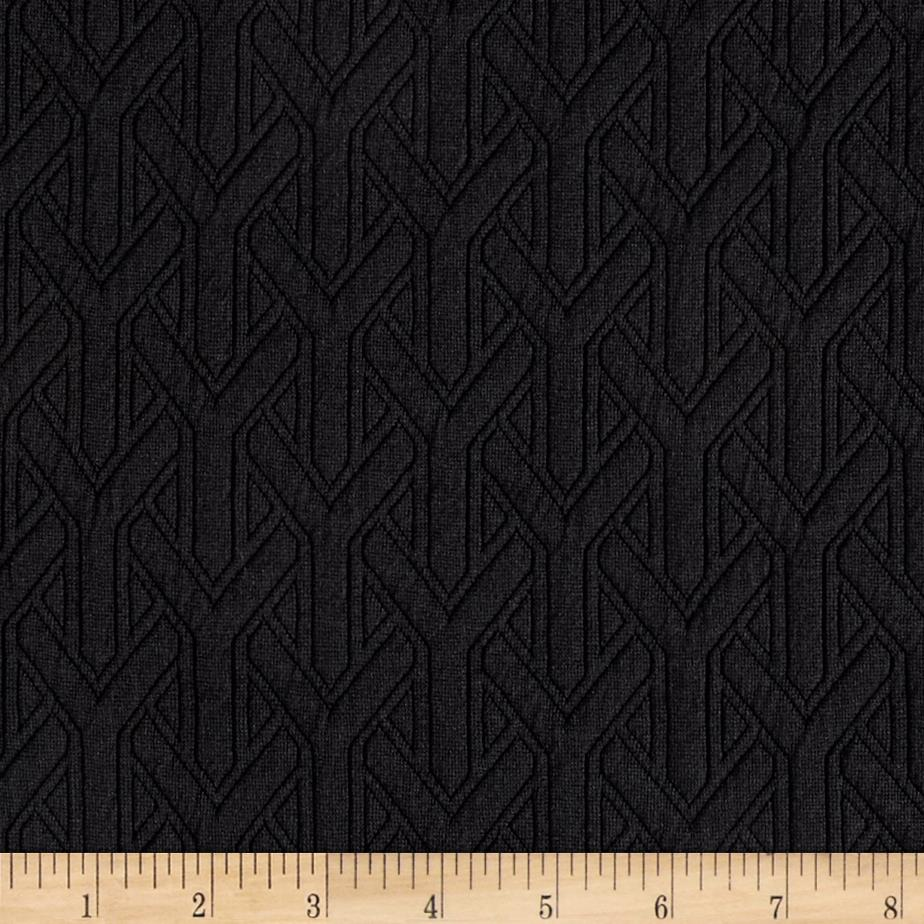 Quilted Double Knit Y Shapes Black