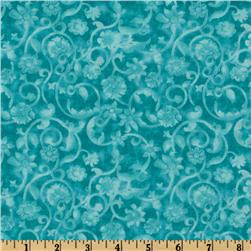108'' Tonal Scroll Quilt Backing Turquoise