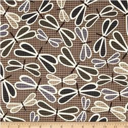 Kanvas Boy Meets Girl Dragonfly Twill Taupe Fabric