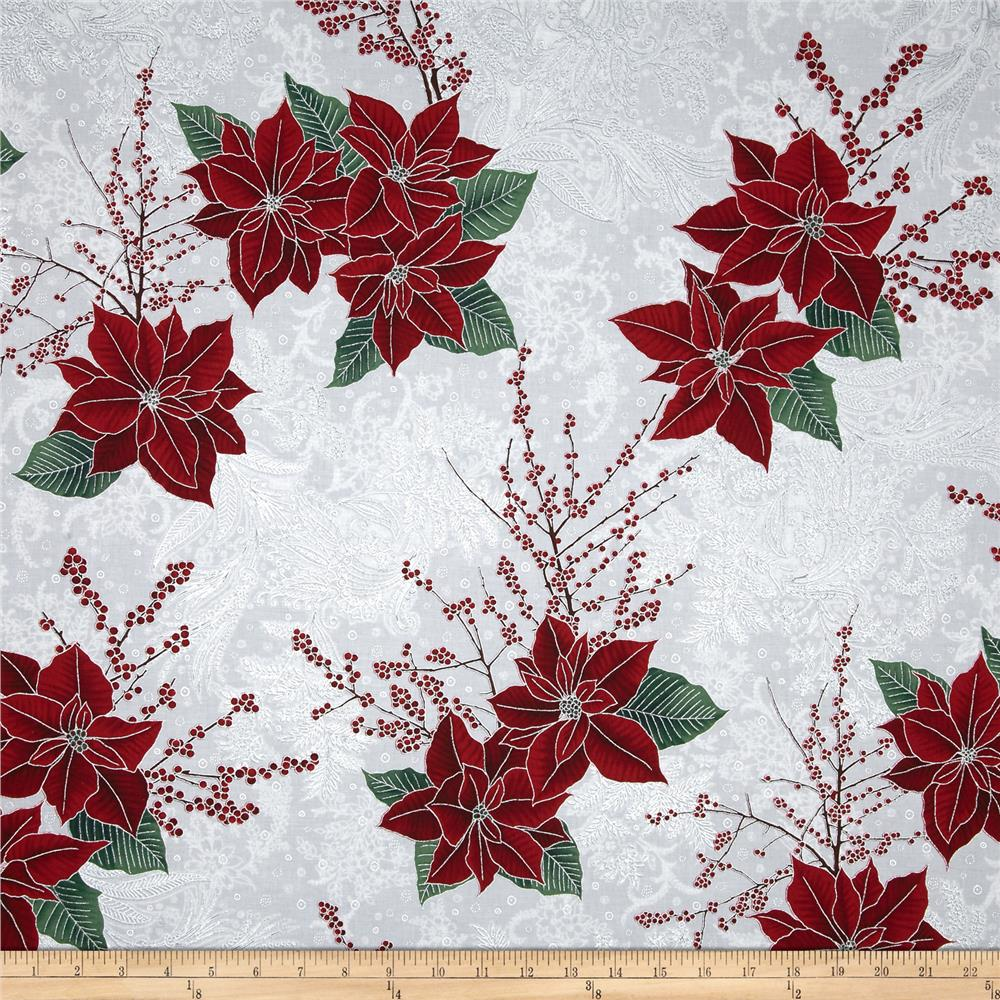 Berries and Blooms Metallic Poinsettia Bouquet Ice/Silver