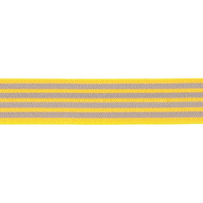 "1""X1 Fold-Over Elastic Yellow/Gray -Stripe"