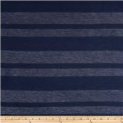 Designer Sheer Tissue Hatchi Knit Stripes Navy
