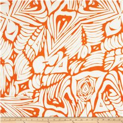 Stretch Venecia ITY Jersey Knit Abstract Art Orange/White