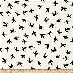 Moda Crepe Bird Print White/Black