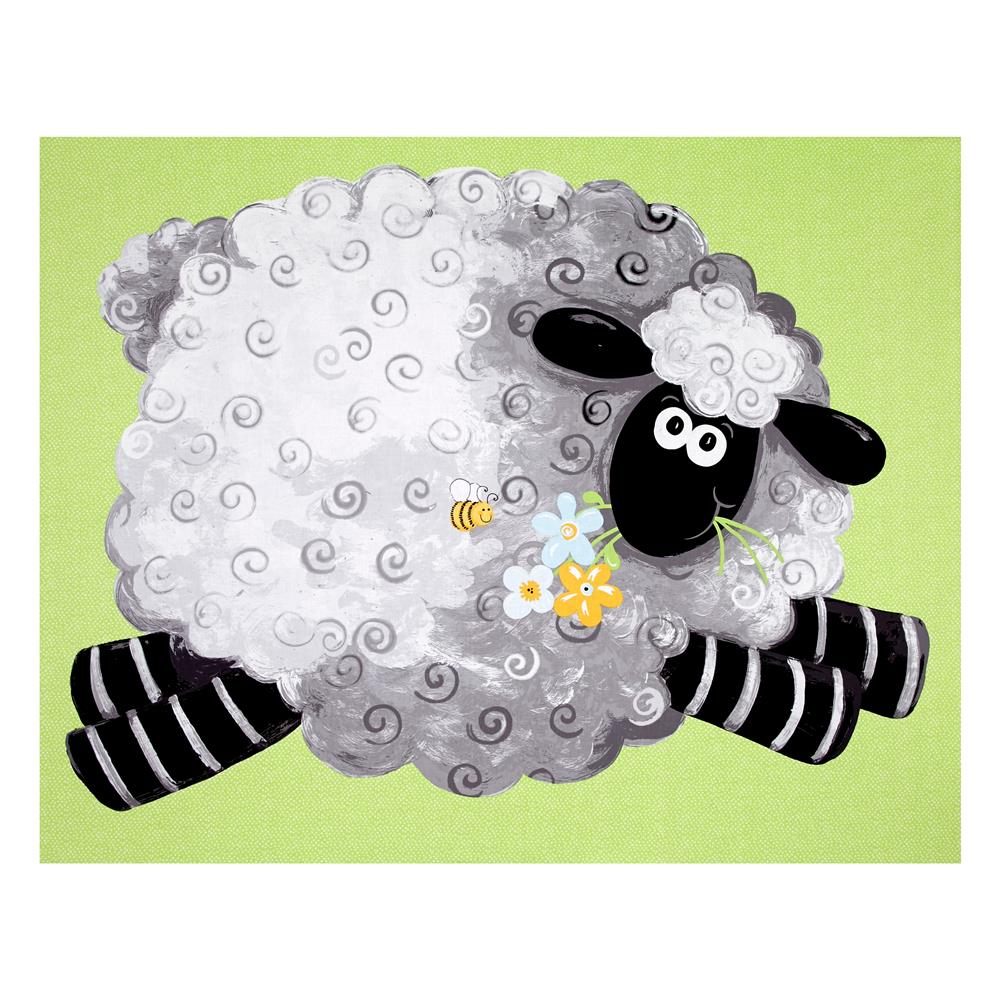 "Lewe the Ewe Play Mat 35"" Panel Green"