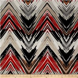 Stretch ITY Knit Chevron Black/Red
