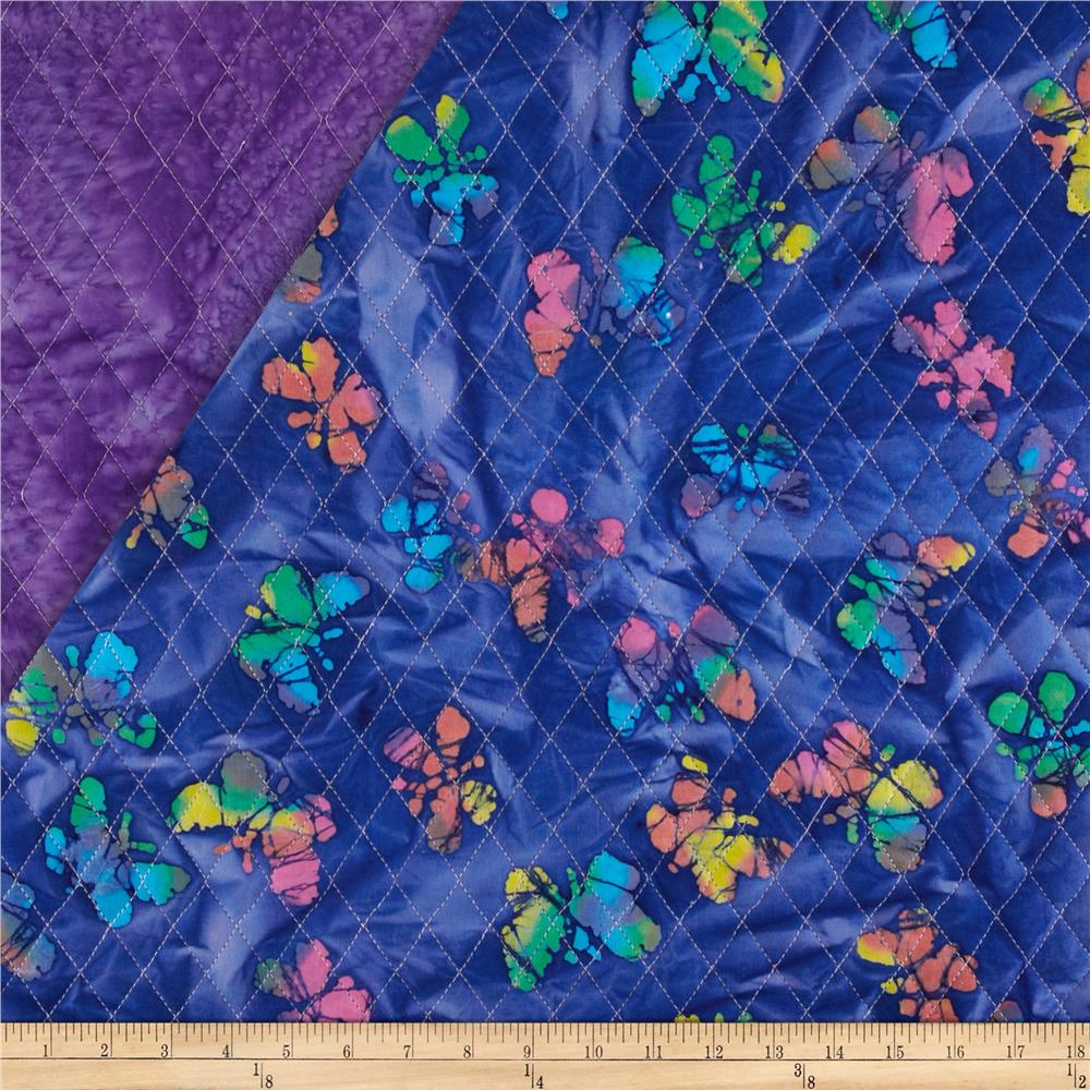 Indian Batik Double Sided Quilted Butterflies Royal