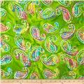 Embroidered Indian Batiks Paisley Green