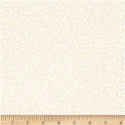 Tea Time Dotted Scroll Yellow Fabric