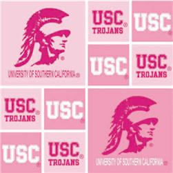 Collegiate Cotton Broadcloth University of Southern California Blocks Pink