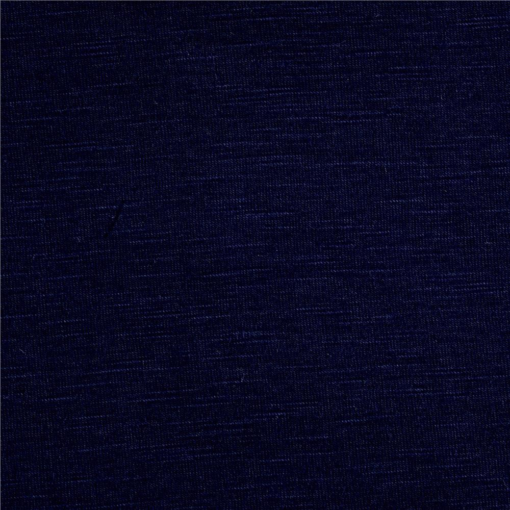 Rayon Spandex Slub Jersey Knit Dark Navy Fabric By The Yard