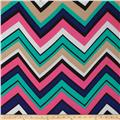 Chiffon Large Multi Stripe Chevron Black/Aqua/Blue