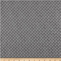 Faux Leather Tile Basketweave Silver