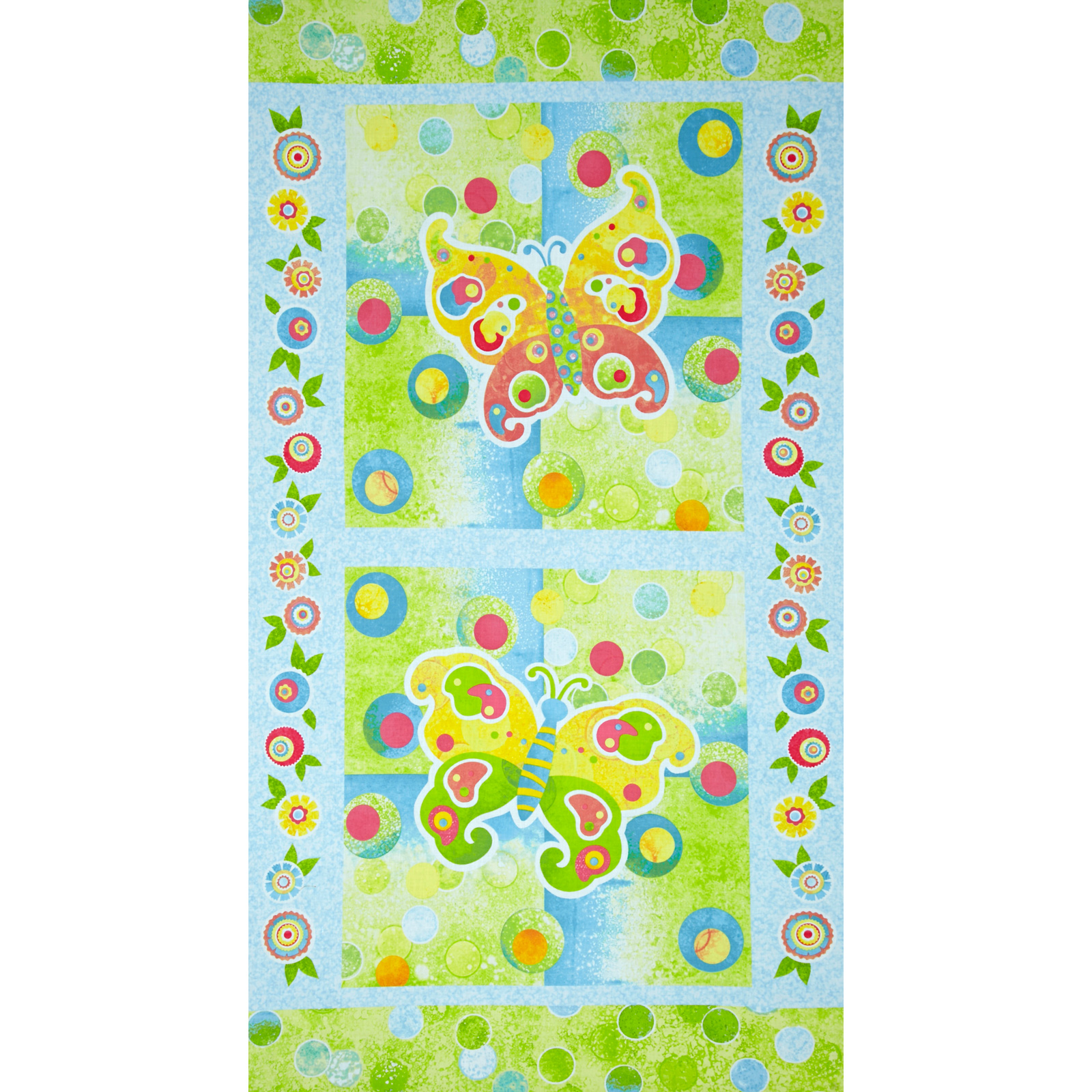 The Garden Club Butterfly Panel Blue/Yellow Fabric
