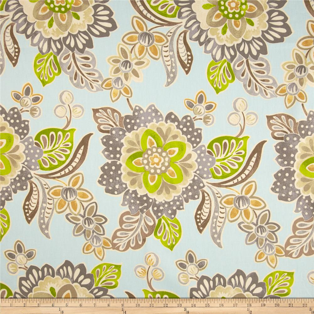 Waverly Jacobean Floral Twill Aqua