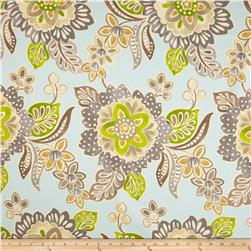 Waverly Jacobean Floral Twill Aqua Fabric