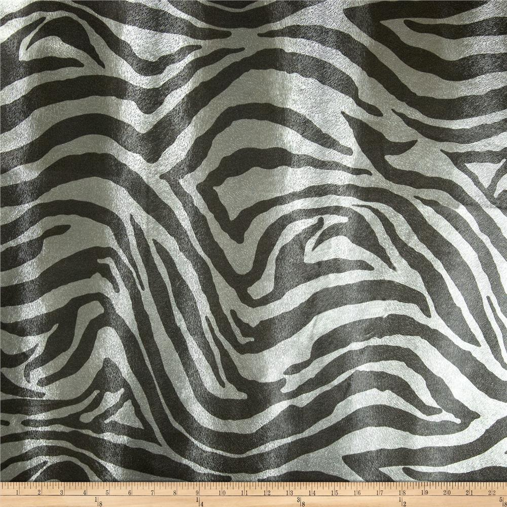 Faux Leather Zebra Charcoal