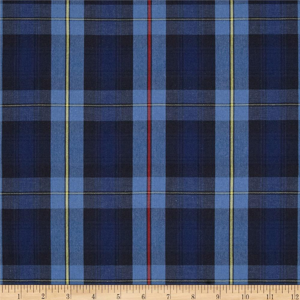 poly cotton uniform plaid black blue yellow   discount