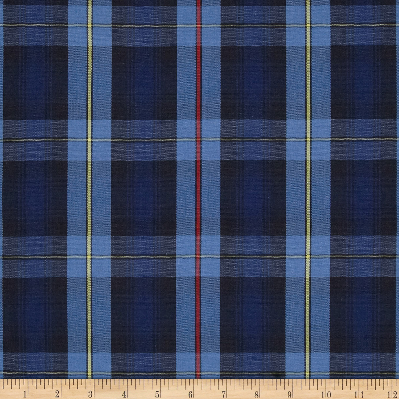 Poly/Cotton Uniform Plaid Black/Blue/Yellow Fabric by Carr in USA