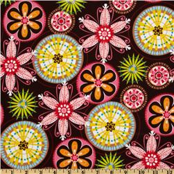 Michael Miller PUL (Polyurethane Laminate) Carnival Bloom Brown