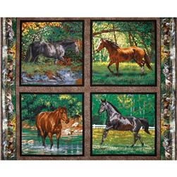 Wild Wings Endless Summer Horses Pillow Panel Brown