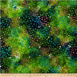 Indian Batik Gypsy Dots Green/Pink