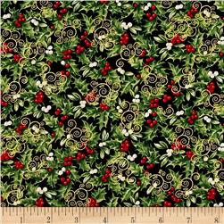 Timeless Treasures Christmas Morning Metallic Packed Holly Black