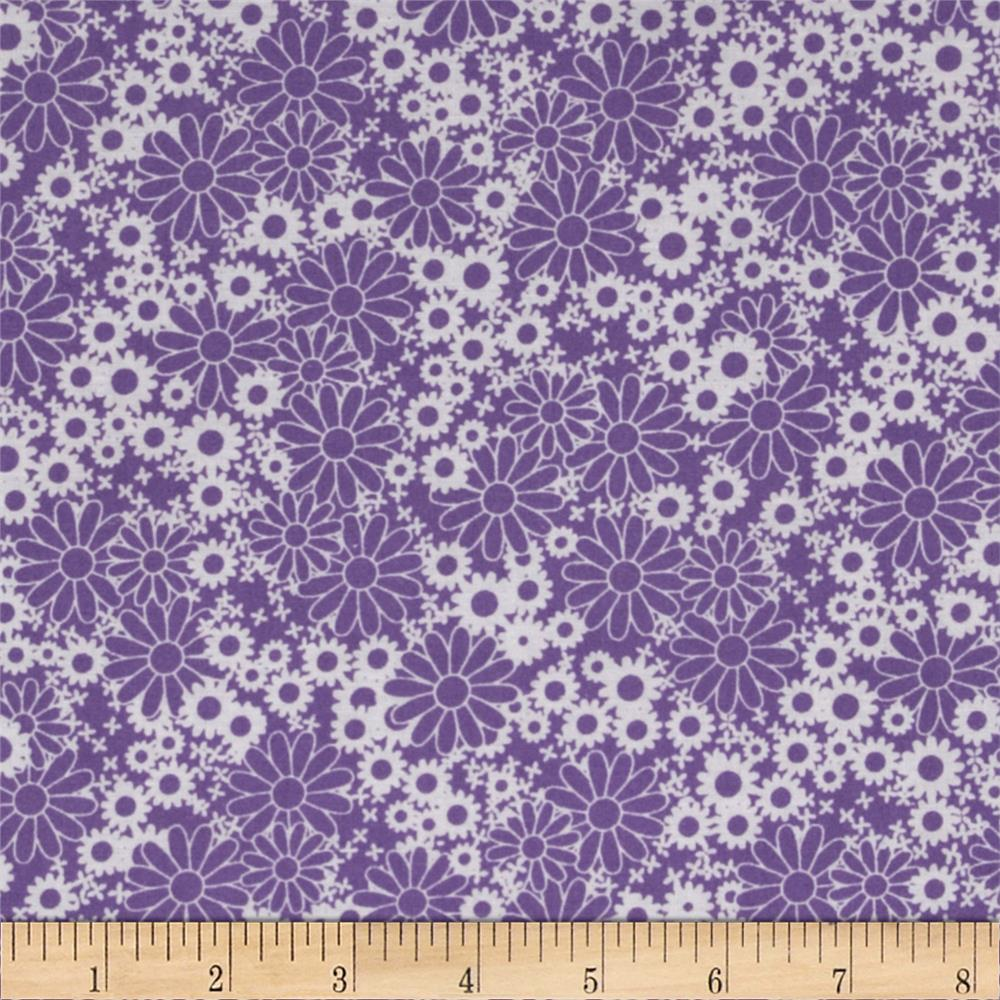 Baby talk splash floral purple white discount designer for Purple baby fabric