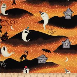 Nightmare Manor Halloween Graveyard Orange/Black Fabric