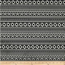 Swim Stretch ITY Jersey Knit Aztec Stripes Black/White