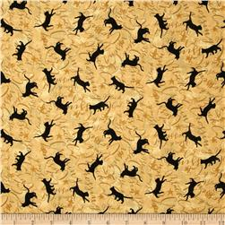 Black Cat Crossing Cats & Stars Tan