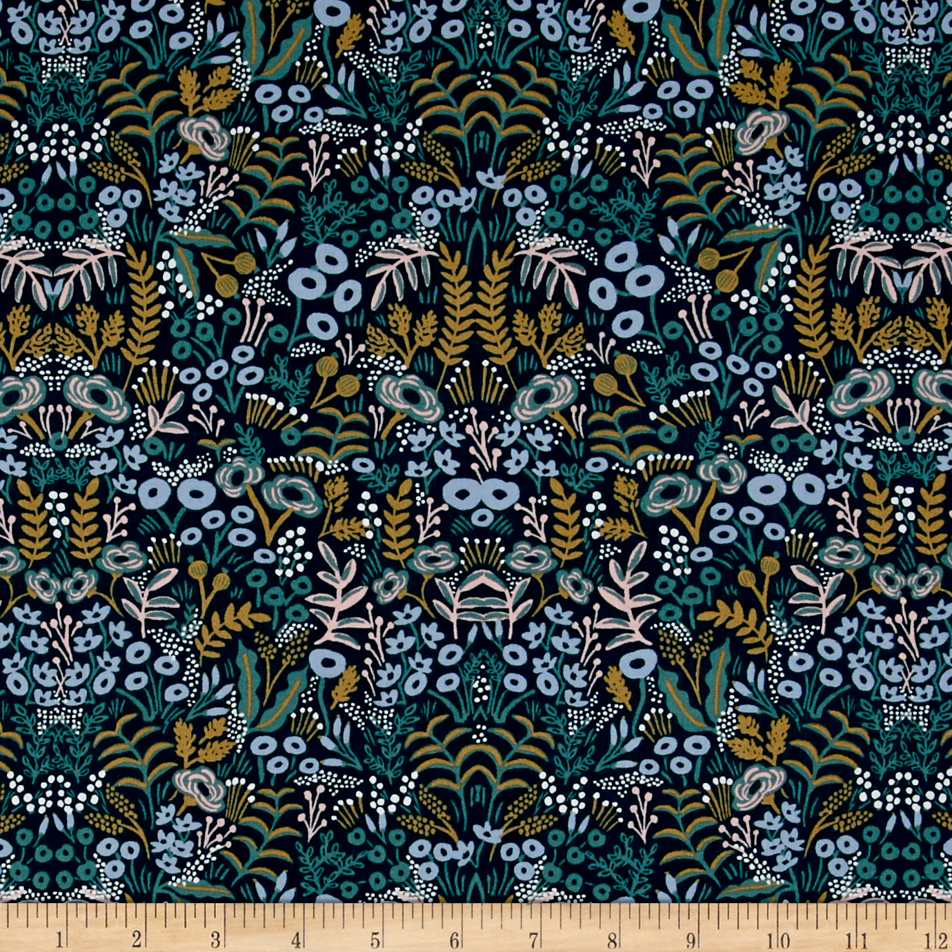 Image of Cotton + Steel Rifle Paper Co. Menagerie Rayon Tapestry Navy Fabric