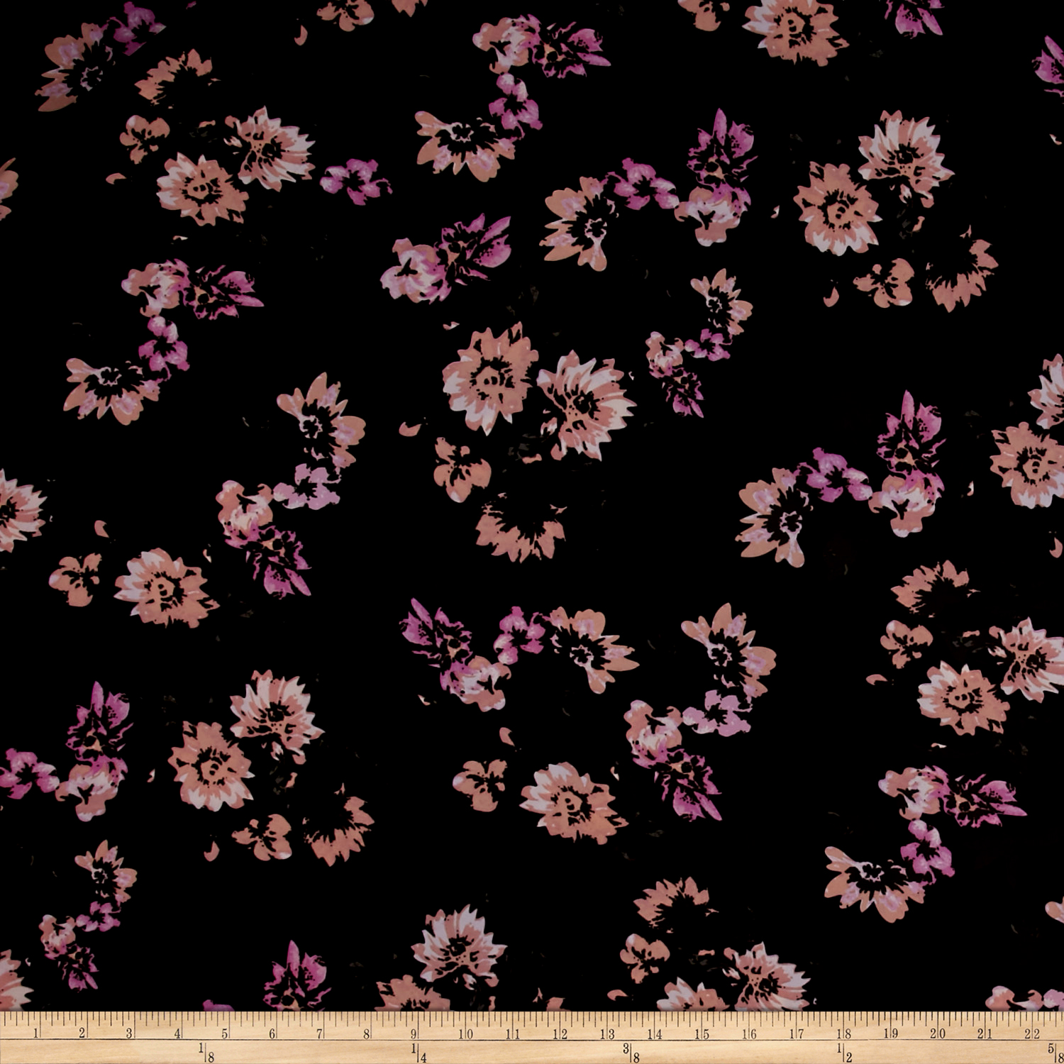 Dobby Crepe Helena Bouquet Mauve Fabric by Mike Cannety in USA