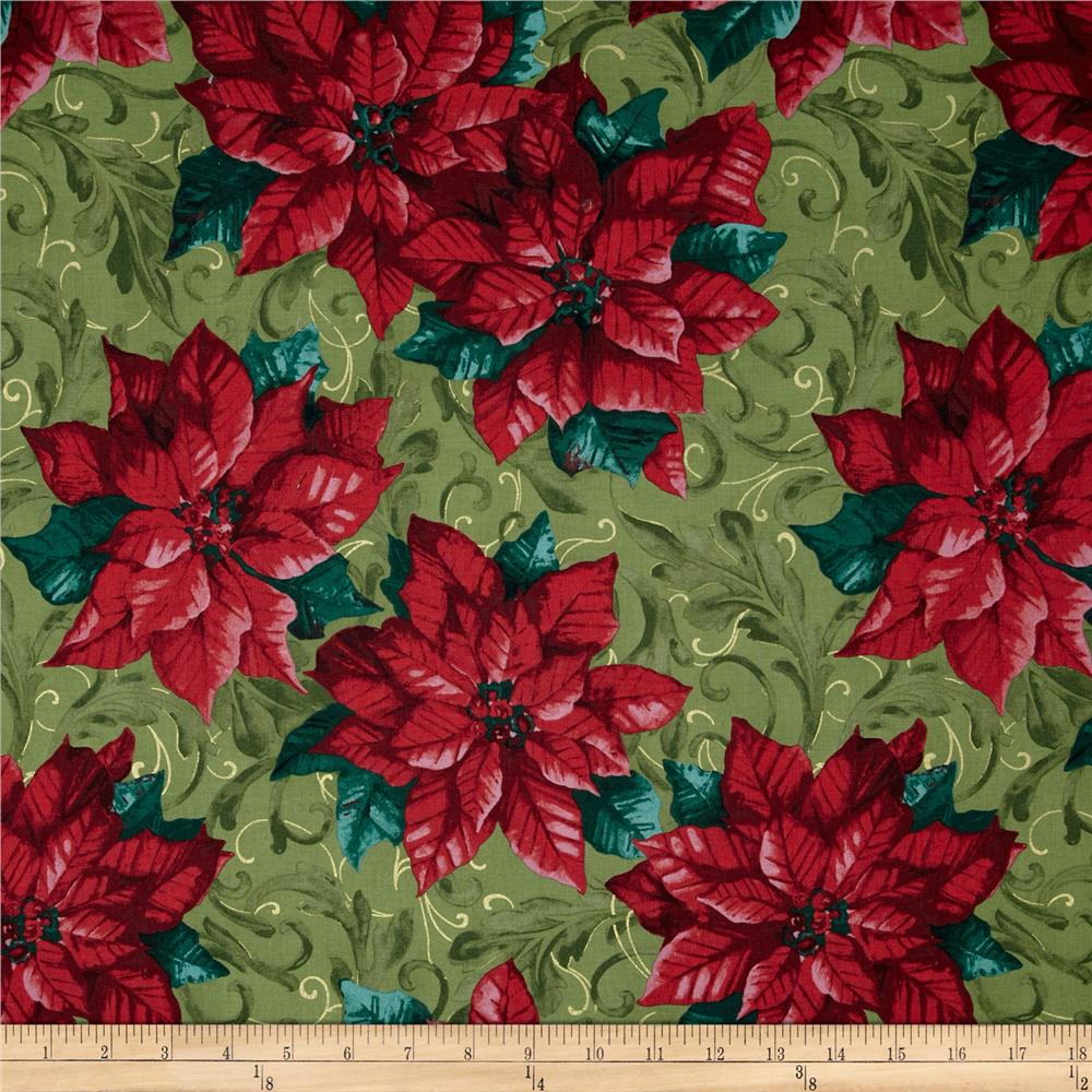 Christmas at Home Holiday Poinsettias Light Green/Red/Green