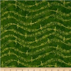 Sounds of the Season Metallic Musical Notes Green
