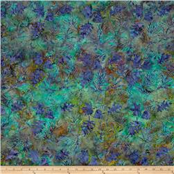 Island Batik Leaf Sprigs Purple/Green/ Plum
