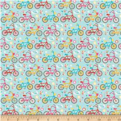 Riley Blake Girl Crazy Bikes Blue Fabric