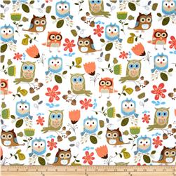 Timeless Treasures Flannel Owls White Fabric